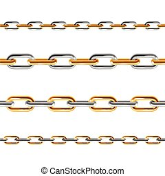 Chain Line Set. Vector - Golden and Silver Chain Line Set....
