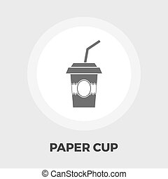Paper fast food cup icon flat - Paper fast food cup icon...