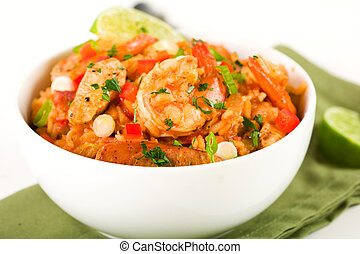 Jambalaya - Spicy Cajun jambalaya packed with sausage,...