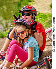 Bikes cycling family - Bikes bicycling family. Happy mother...