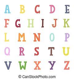 Alphabet cartoon vector illustration.