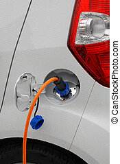 Charging electric car prototype - Electric cable pluged into...