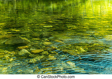 Rippling water with sunbeam and stones in the water -...