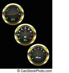 a set of three car dials