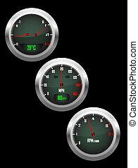 Set of three car dashboard gauges