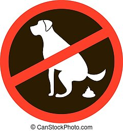 no dog pooping signs. Isolated white silhouette on black -...