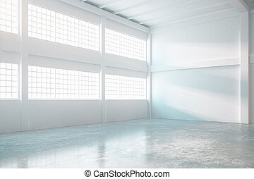 Bright hangar interior - Bright empty hangar interior with...