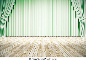Stage with green curtains