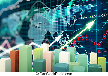 Chart bars on forex background - Abstract colorful chart...