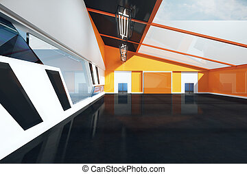 Loft interior front - Front view of loft interior with black...