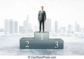 Businessman won competition - Businessman on first place...
