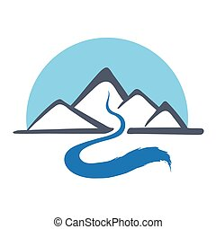 Mountain river, vector logo illustration - Mountain river or...