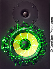 Music monitor speakers with green laser rays