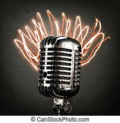 Retro microphone with orange laser rays