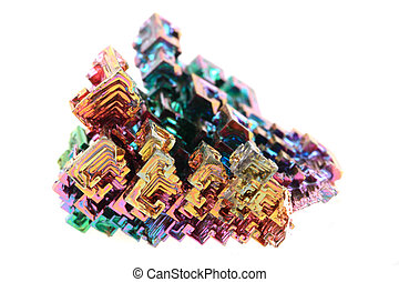 Bismuth - rainbow metal mineral isolated on the white...
