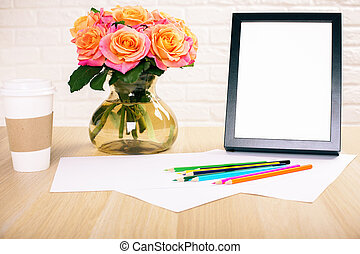 Coffee, flowers and frame - Roses in vase, blank picture...