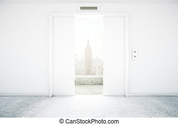 Elevator NY view - Open white elevator with New York city...