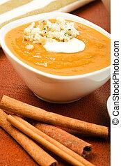 Butternut Squash Soup - Butternut squash soup with Cream,...