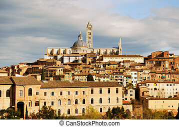 Siena - City landscape of Siena, one of the best example of...
