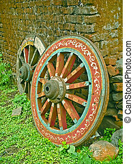 Wheel close up of a bullock cart