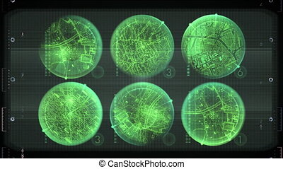 Radar graphs searching for target