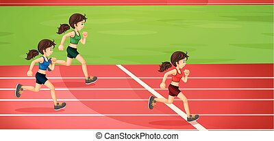 Girls running in the tracks illustration