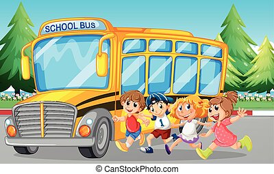 Students and school bus on the road