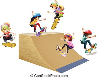 Children skateboard on wooden ramp illustration