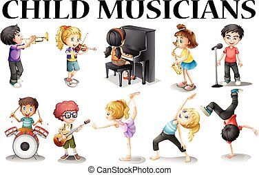 Children playing different musical instruments illustration
