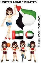 United Arab Emirates flag and athletes illustration