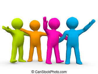 The Right Team - A small group of colourful people