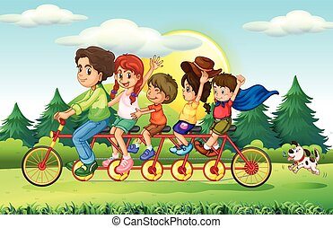 Family members riding bike in the park