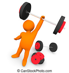 Gym Exercise - A person at the gym with weights.