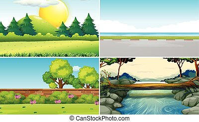 Four different scenes at daytime illustration