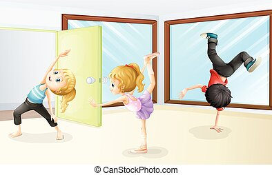 Three kids stretching and dancing