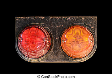 Tail lights of truck  on black background