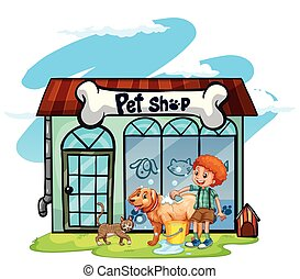 Boy washing dog at pet shop
