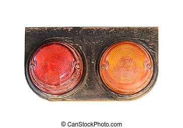 Tail lights of truck  on white background