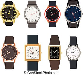 Set of watches in classic design. Vector illustration. Man...