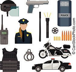 Vector set of police objects and equipment isolated on white...
