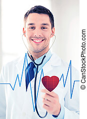 doctor listening to heart beat