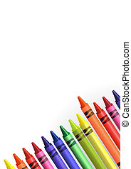 Back to school Background - colored crayons over a white...