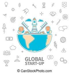global startup concept - line art global startup concept....