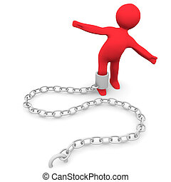 Trapped Person - A person trapped and attached to a chain.