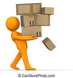 Overload Delivery - A person carrying lots of parcels.