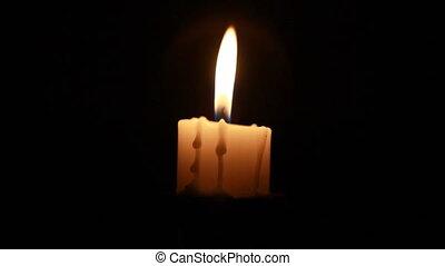 stearinljus, Natt, nära, Uppe