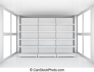 White supermarket retail store shelves in room