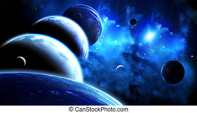 Beautiful space scene with parade of planets and nebula - A...