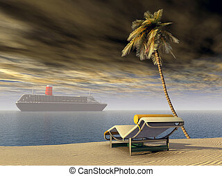 Cruise ship - Computer generated 3D illustration with cruise...