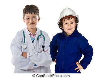 Two children with clothes of workers